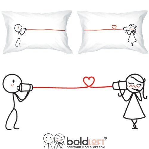 BOLDLOFT Say I Love You Couples Pillowcases| Valentines Day Gifts for Her|Anniversary Gifts for Her|Couple Gifts for Him and Her|His and Hers Gifts|Romantic Gifts for Girlfriend,Boyfriend,Husband,Wife Hers Pillowcase