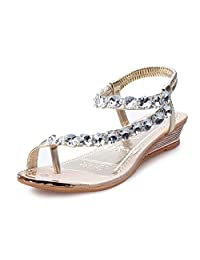 Sumen Woman Summer Flat Sandals Rhinestone Platform Wedges Shoes Beach Shoes