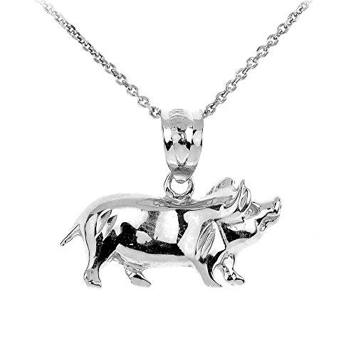 Animal Kingdom High Polish 925 Sterling Silver Pig Charm Pendant Necklace, 16