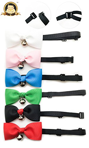 "CatYou 6 PCS Pet Cat Dog Bowknot Collar Bow Tie with Bell, 7""-13"" Adjustable, Solid Color, for Cats Small Dogs Puppy"