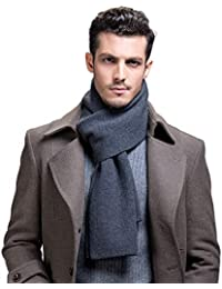 Men's 100% Australian Merino Wool Scarf Knitted Soft Warm Neckwear with Gift Box