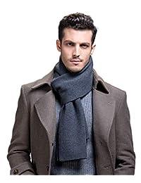 RIONA Men's 100% Australian Merino Wool Scarf Knitted Soft Warm Neckwear with Gift Box (Dark grey)