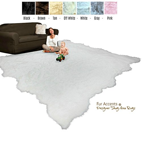 Price comparison product image Large Shag Area Rug - Random Edge - Faux Fur Sheepskin - Room Size Carpet - Soft Shaggy Plush Designer Accent - Fur Accents (8'x10', Gray)