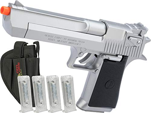 Evike Desert Eagle Licensed Magnum 44 Airsoft Pistol (Color: Silver w/ 4 Extra Mags & Holster)