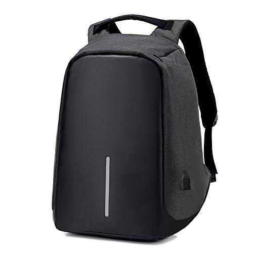 heft USB charging double shoulder bag Oxford double shoulder bag business travel bag(black) ()