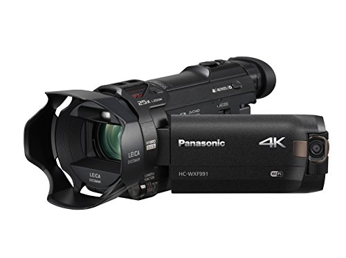 "PANASONIC HC-WXF991K 4K Cinema-Like Camcorder, 20X Leica DICOMAR Lens, 1/2.3"" BSI Sensor, 5-Axis Hybrid O.I.S, HDR Mode, EVF, WiFi, Multi Scene Twin Camera (USA Black)"
