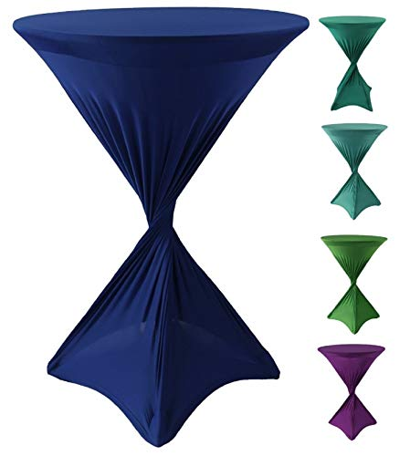 CoolZest Cocktail Table Covers, High Top Table Tablecloth, Spandex Table Covers for Cocktail Tables Bar Height, 30-Inch Fitted Tablecloths for Round Tables (Royal Blue) ()