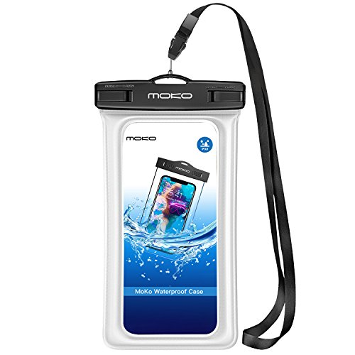 MoKo Waterproof Phone Pouch, Waterproof CellPhone Case Dry Bag Pouch with Lanyard Compatible with iPhone X/Xs/Xr/Xs Max, 8/7/6S Plus, Galaxy S10/S9/S8 Plus, S10e, Note 9/8, Up to 6.5