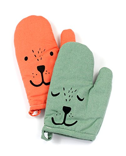 Yizi Zakka Cotton Oven Mitts, Cute Smiling Face, Heat Resistant Potholders, Oven Gloves for Cooking, Baking, Microwave, 1 Pair (1 Green and 1 (Quilt Oven Mitt)