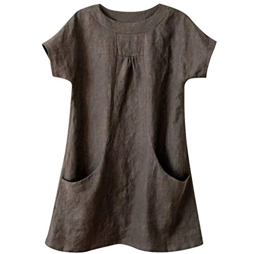 Nuewofally Women's Casual T Shirts Linen Blouse Round Neck Tee Top Summer Short Sleeve Tunic Tops with Pockets Brown