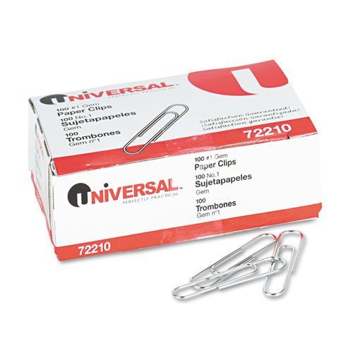 Universal Paper Clips, Smooth, Size No. 1, Silver, 100/BX, 10 (Metal Paper Clips)