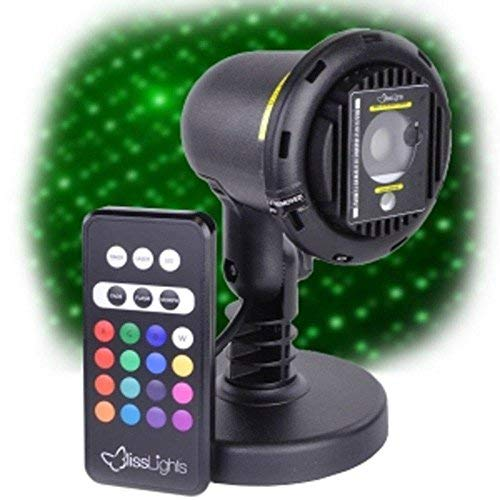Blisslights Spright COLOR Green Laser with 16 color LED Accent Lighting with yard stake and indoor stand options ()