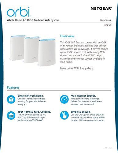 Orbi Ac3000 Tri Band Wifi System Router Coverage Up To