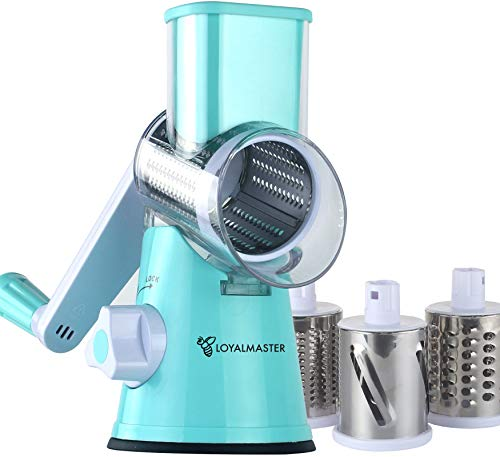 LOYALMASTER Rotary Cheese Grater - Hand Crank Vegetable Slicer Shredder Grinder - Round Mandoline Cutter for Food, Pecans, Carrots, Salad, Nuts Chopper - 3 Stainless Steel Drums - Strong Suction Base
