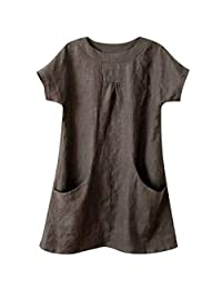 DKmagic Women Casual Round Neck Short Sleeve Linen Loose Pocket Tops Blouse Shirt