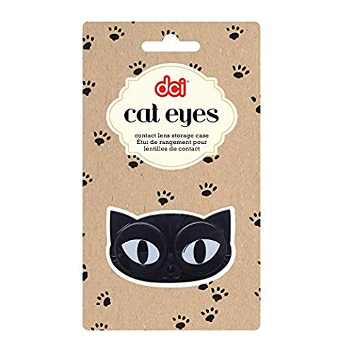 DCI Cat Eyes Contact Lens Case - Travel Mini Contact Lens Case Holder - Eye Care You Will Love (color may vary) -