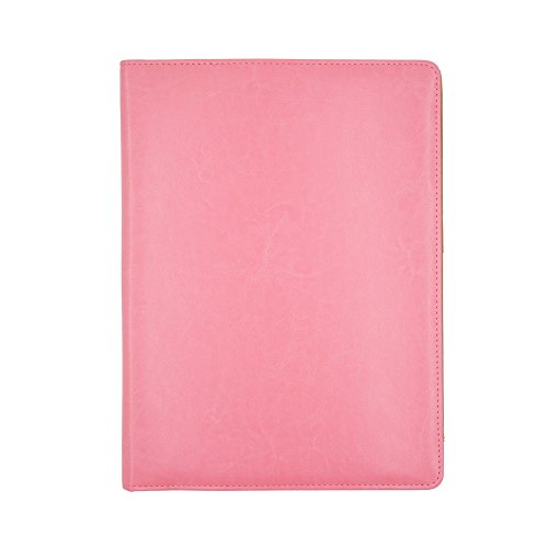 Professional Business Padfolio - Resume Portfolio / Business Portfolio/ Document Storage/ Business Card Pocket & Writing Pad,Faux Leather Matte Finish & Accent Stitching (Pink) by WOGOD