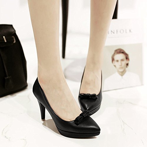 Mee Shoes Damen high heels Plateau Geschlossen Pumps Schwarz