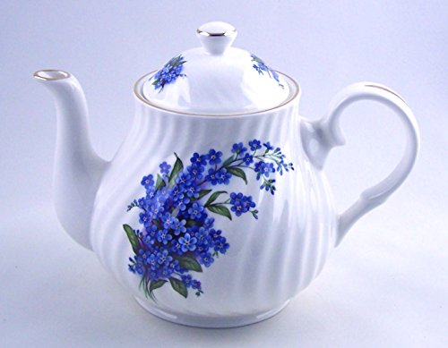 Fine English Bone China Teapot - Forget-Me-Not Swirl Chintz - Crown Trent, England (Teapot With Crown Design compare prices)