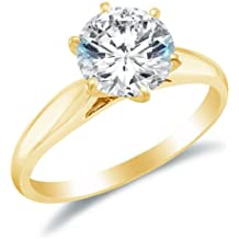 Solid 14k White OR Yellow Gold Classic Traditional Round Brilliant Cut Solitaire Highest Quality CZ Cubic Zirconia Engagement Ring 1.0ct.