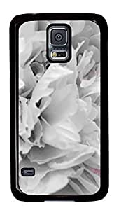 Diy Fashion Case for Samsung Galaxy S5,Black Plastic Case Shell for Samsung Galaxy S5 i9600 with Peony