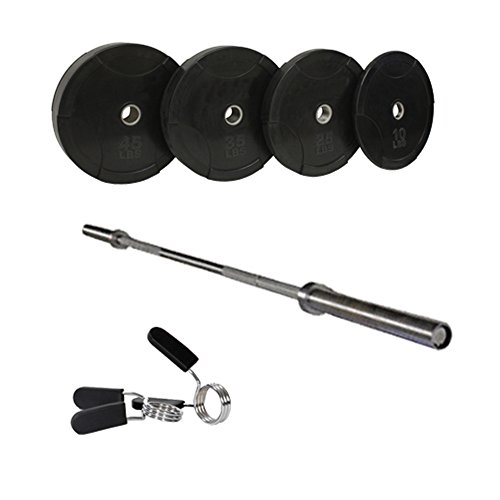 Harvil Solid Rubber Bumper Plate Olympic Set. Includes 84-Inch Olympic Weight Bar and Chrome Spring Collars by Harvil