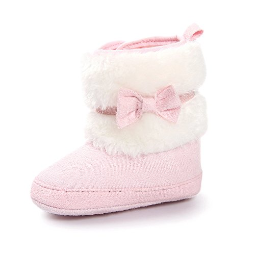 ESTAMICO Baby Girl Plush Winter Snow Bowknot Boots Pink 6-12 Months