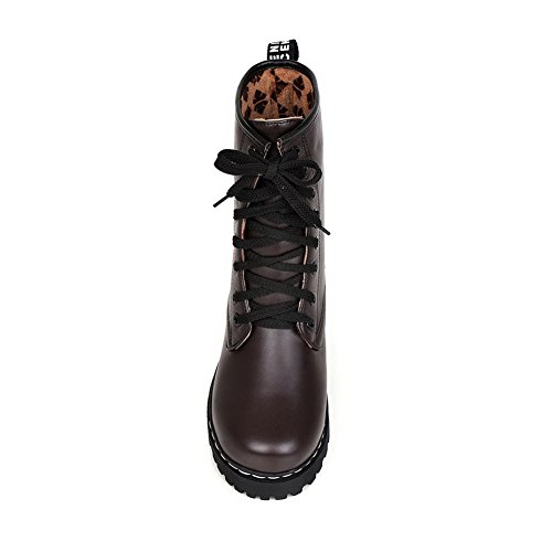 Heels Brown Up Boots Imitated Low AdeeSu Girls Lace Leather Comfort XgwOPZ