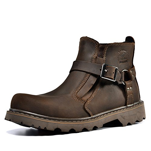 12c8756a745c Matari Men's Leather Shoes Retro HASP Engineer Boots Working Martin Boots  (10 B(M), Brown)