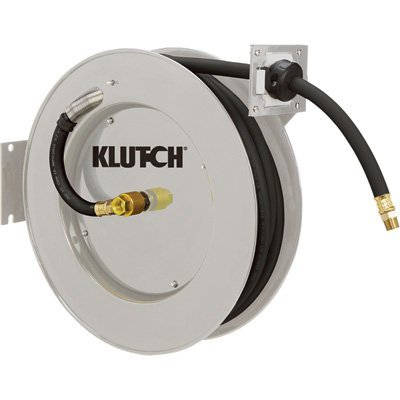 Klutch Auto Rewind Air Hose Reel - With 1/2in. x 50ft. Rubber Hose, Max. 300 PSI by Klutch