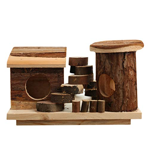 Balacoo Natural Chewable Hamster Hideout Wooden Hut Play House Small Animal House for Hamster