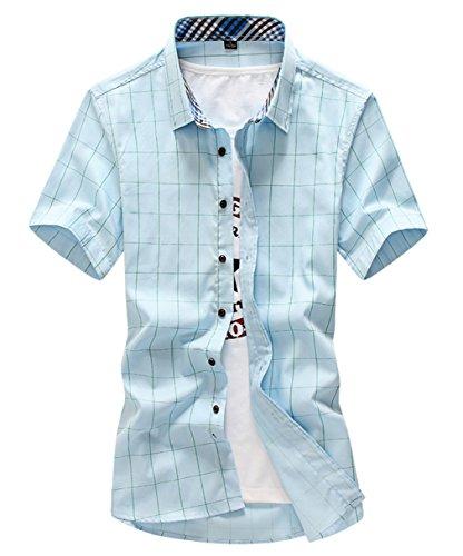 納屋ドキドキ終わり[スゴフィ]SGFY  メンズ ポロシャツ チェック柄 カジュアル シャツ ゴルフ ウェア (2XL, ライトブルー)