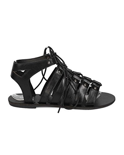 Women Black Toe Open Gladiator BETANI Caged Leatherette Sandal EH66 aFHnwqv