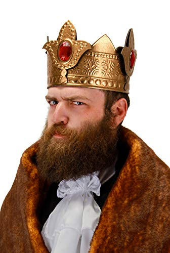 Gold King Crown with Red Jewels for Men and Women by elope -
