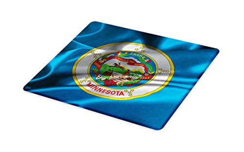 Lunarable American Cutting Board, Minnesota Flag Flying Wreath of Lady Slipper the State Flower State History, Decorative Tempered Glass Cutting and Serving Board, Small Size, Blue Multicolor
