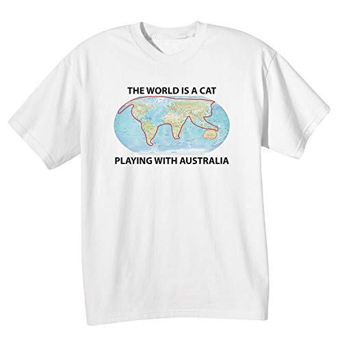 WHAT ON EARTH Men's The World is a Cat Playing with Australia T-Shirt - 2X White (Best T Shirts Australia)