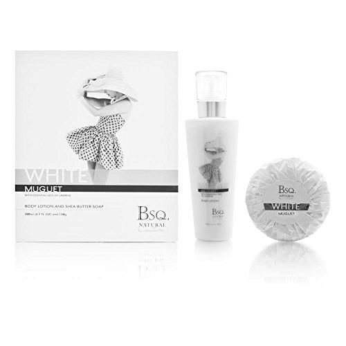 Square Berkeley Natural (Bsq. Natural Couture White Muguet 2 Piece Set Includes: 6.7 oz Body Lotion + 150g Soap)