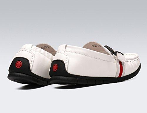 Herren Lederschuhe Frühling Herren weiche Lederschuhe Peas Schuhe britischen Stil Casual Flut faule Schuhe Herrenschuhe ( Farbe : Weiß , größe : EU40/UK6.5 ) Weiß