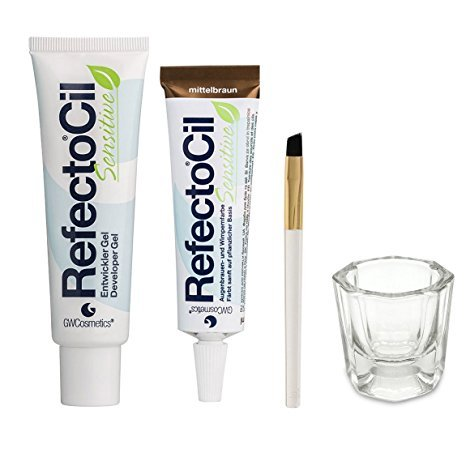 Bundle of Four Items: RefectoCil Sensitive Developer Gel 2 oz, Sensitive Colour Gel (Medium Brown) .5 oz, Small Tint Brush, and Glass Dappen Dish by RefectoCil (Image #1)