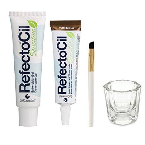 Bundle of Four Items: RefectoCil Sensitive Developer Gel 2 oz, Sensitive Colour Gel (Medium Brown) .5 oz, Small Tint Brush, and Glass Dappen Dish