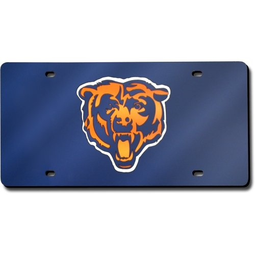 Chicago Bears Laser Cut Navy License Plate (License Plate Bears Laser Chicago)
