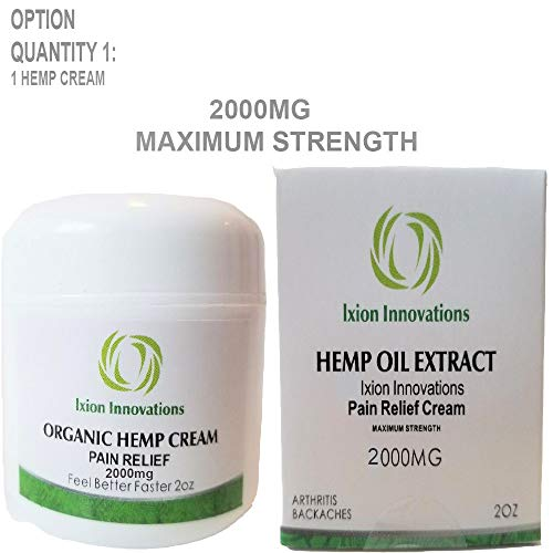 Natural Organic Industrial Strength Hemp Oil Extract Cream 2000 mg - Rub - Ointment - Salve - Arnica - Wintergreen - Emu - Camphor - Rosemary - Lanolin - Montana - Menthol - Joint - Ache - Soreness