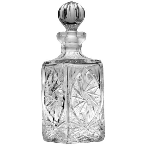 Handcut Crystal Wine Decanter, Mouth Blown in a Pinwheel Design, .75 Quart