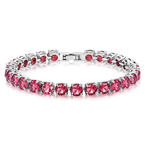 Simulated Ruby Tennis Bracelet 6mm Round Cut Silver over Brass 7 inch
