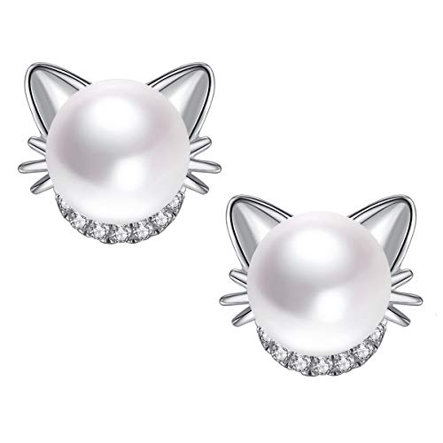 Silver Cat Earring - Cute Cat Ear Sterling Silver CZ & Freshwater Pearl Stud Earrings for Women Girls
