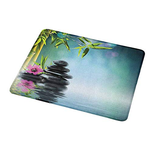 Natural Rubber Mouse Pad Spa,Tower Stone and Hibiscus with Bamboo on The Water Blurry Background,Petrol Blue Fuchsia Lime Green,Standard Size Rectangle Non-Slip Rubber Mousepad 9.8