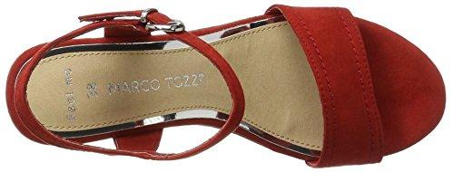 Marco Tozzi 28359 - Sandalias de vestir de lona para mujer Rojo (Red 500)