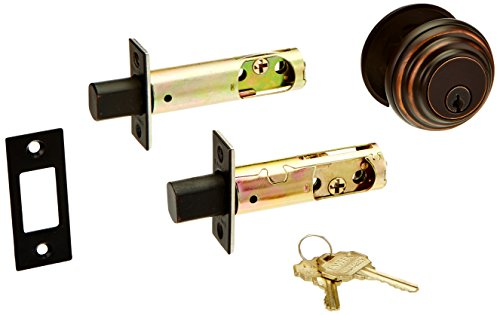 (Solid Brass Single Cylinder Low Profile Deadbolt Oil Rubbed Bronze with 2 3/8