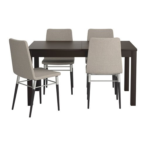 Ikea Table and 4 chairs, brown-black, Tenö light gray 202020.52311.634