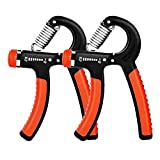 E-More Hand Grip Strengthener (2 Pack), 5-60kg Adjustable Hand Grip Exerciser Forearm Wrist Exerciser Therapy Gripper, Hand Exerciser for Athletes & Musicians, Stress Relief